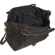 David King 25'' Leather Top Zip Travel Duffel; Caf  / Dark Brown