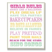 Stupell Industries The Kids Room Girls Rules Textual Art Wall Plaque