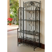 International Caravan Charleston 5-Tier Iron Indoor/Outdoor Bakers Rack; Antique Black