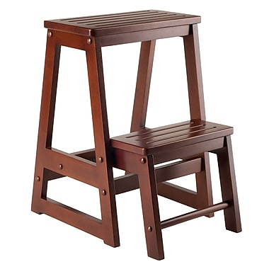 Winsome Double Step Stool, Antique Walnut