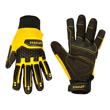 Stanley S77661 Black Synthetic Leather Palm with PVC Reinforcements & Gel Padded Palm, Large, 4 Pairs/Pack