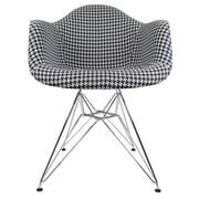 eModern Decor Mid Century Modern Arm Chair; Houndstooth Pattern