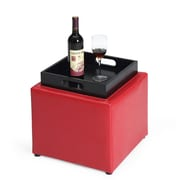 Hodedah Cube Storage Ottoman; Red