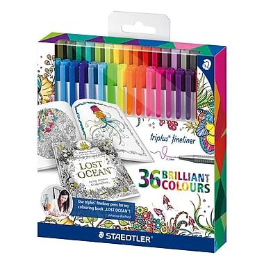Staedtler® Adult Colouring Themed Triplus Fineliner Pens, 0.3mm, Assorted, 36/Pack