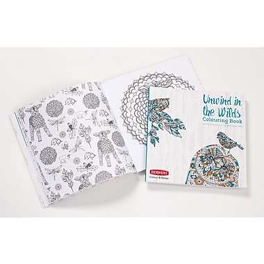 Derwent Colour and Relax: Unwind in the Wilds Colouring Book and Coloursoft Pencils Bundle