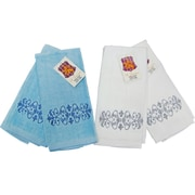 Textiles Plus Inc. Embroidery Fingertip Towel (Set of 4); Blue / White