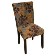 HomePop Kinfine Classic Upholstered Parsons Chair; Brown / Tan Leaf