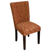 HomePop Kinfine Classic Upholstered Parsons Chair; Coral Orange / Gold Damask
