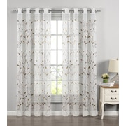 Window Elements Wavy Leaves Embroidered Sheer Grommet Single Curtain Panel; Chocolate