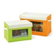 Seville Classics 2 Piece Fabric Storage Box Set; Green / Orange