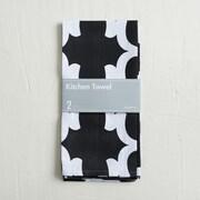 Linen Tablecloth Trellis Kitchen Towel (Set of 2); Black/White