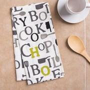 Linen Tablecloth Chef Print Kitchen Towel (Set of 2); Charcoal