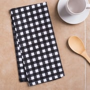 Linen Tablecloth Checkered Kitchen Towel (Set of 2); Black/White