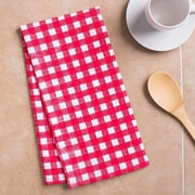 Linen Tablecloth Checkered Kitchen Towel (Set of 2); Red/White