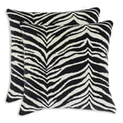 Brite Ideas Living Zebra Black Simply Soft Throw Pillow (Set of 2)