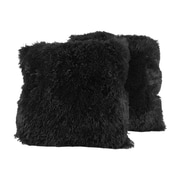 Sweet Home Collection Very Soft and Comfy Plush Throw Pillow (Set of 2); Black