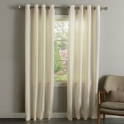 Best Home Fashion, Inc. Natural Linen Blend Grommet Top Curtain Panel (Set of 2); 96'' L x 52'' W