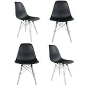 eModern Decor Slope Side Chair (Set of 4); Black