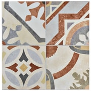 EliteTile Hydraulic 13'' x 13'' Ceramic Tile in Beige and Terracotta