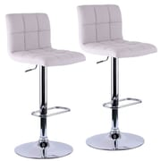 WorldWide HomeFurnishings Adjustable Height Swivel Bar Stool with Cushion (Set of 2); Linen