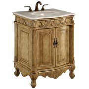 Elegant Lighting 27'' 2 Door Cabinet Vanity Base; Antique Beige