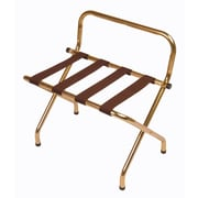 Central Specialties LTD Metal High Back Luggage Rack with Strap; Brown/Brasstone
