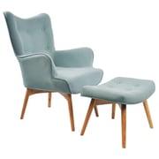 !nspire Retro Wingback Arm Chair w/ Ottoman; Hazy Blue