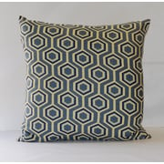 Fino Lino Hexagon Throw Pillow; Blue