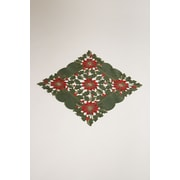 Wimpole Street Creations Fine Linen Holiday Poinsettia Garden Square Table Topper; 20'' W x 20'' L