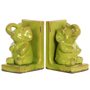 """Urban Trends Stoneware Bookend, 5.75"""" x 4"""" x 8.5"""", Green (11175-AST)"""