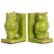 "Urban Trends Stoneware Bookend, 5.75""L x 4""W x 8.5""H, Green, 2/Set (11176-AST)"