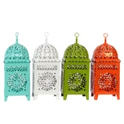"Urban Trends Metal Lantern, 6.75"" x 6.75"" x 17.25"", White, Orange, Green, 4/SET (23303-AST)"
