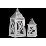 """Urban Trends Wooden Lantern, 10"""" x 10"""" x 20.5"""", White (26906)"""