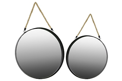 """""Urban Trends Metal Mirror, 18"""""""" x 1.5"""""""" x 18"""""""", Black, 2/Set (# 32300)"""""" 2032414"