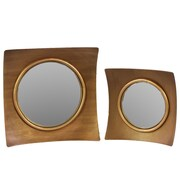 "Urban Trends Wood Mirror, 15.5"" x 2.5"" x 15.5"", Gold, 2/SET (33067)"