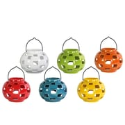 "Urban Trends Ceramic Lantern, 6.75"" x 6.75"" x 5.5"", White, Red, Orange, Yellow, Green, Blue, 6/SET (34433-AST)"