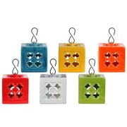 "Urban Trends Ceramic Lantern, 5.25""L x 5.25""W x 5.25""H, White, Red, Orange, Yellow, Green, Blue, 6/Set (34434-AST)"