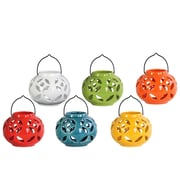 "Urban Trends Ceramic Lantern, 6.75"" x 6.75"" x 5.5"", White, Red, Orange, Yellow, Green, Blue (34435-AST)"