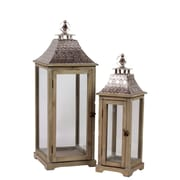 "Urban Trends Wood Lantern, 10.75"" x 10.75"" x 28.75"", Brown, 2/SET (40112)"