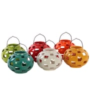 "Urban Trends Ceramic Lantern, 5.5""L x 5.5""W x 8""H, White, Red, Orange, Yellow, Green, Blue, 6/Set (50860-AST)"