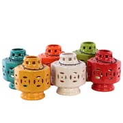 "Urban Trends Ceramic Lantern Assortment, 5.25"" x 5.25"" x 7"", White/Red/Orange/Yellow/Green/Blue, 6/Set (50864-AST)"