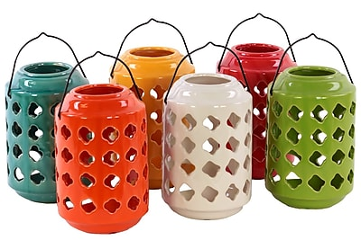 """""Urban Trends Ceramic Lantern, 5"""""""" x 5"""""""" x 7.5"""""""", White, Red, Orange, Yellow, Green, Blue, 6/SET (50865-AST)"""""" 2032526"