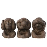 "Urban Trends Polyresin Figurine, 6.5""L x 6.25""W x 8.5""H, Brown, 3/Set (67044-AST)"