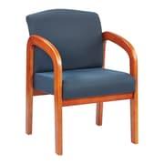 Office Star™ Wood Guest Chair, Medium Oak Finish Wood with Midnight Blue Fabric