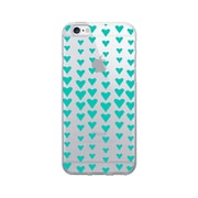 OTM Essentials Classic Prints Clear Phone Case for Use with iPhone 6/6S, Falling Turquoise Hearts (IP6V1CLR-CLS-10)