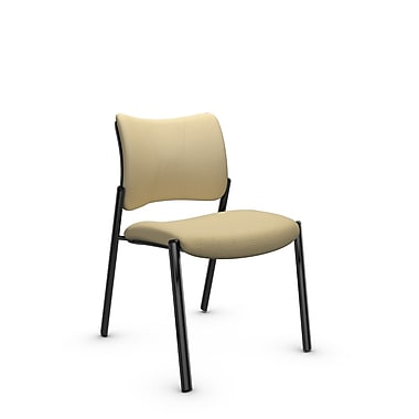 Global Zoma Designer Side Chair, Imprint, Almond Fabric, Tan