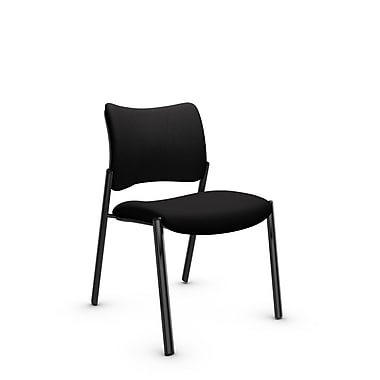Global Zoma Designer Side Chair, Imprint, Licorice Fabric, Black