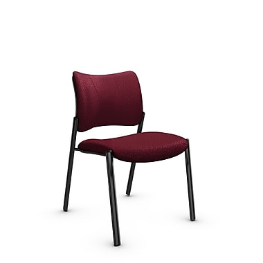 Global Zoma Designer Side Chair, Match, Burgundy Fabric, Red