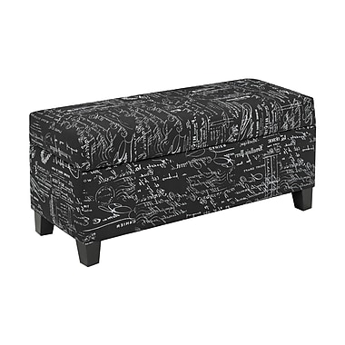 Cayman 2006-BK Storage Ottoman, Black Script Fabric