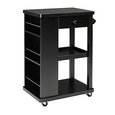 Brassex 151095 Kitchen Cart with Storage Drawer, 2 Storage Shelves and 3 Side Spice Racks, Black